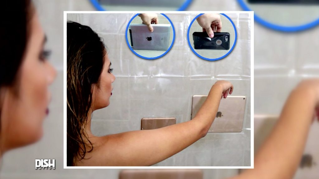 NEW SHOWER CURTAIN ENABLES PHONE USE IN THE